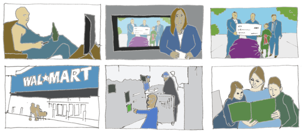 storyboard of discovering cucumber zoo on tv